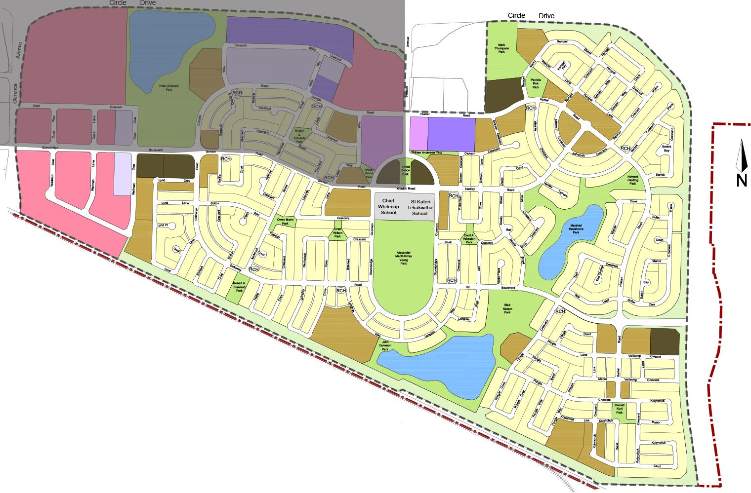 Northwest – North of Stonebridge Boulevard and Gordon Road, West of Preston and Alexander MacGillivary park