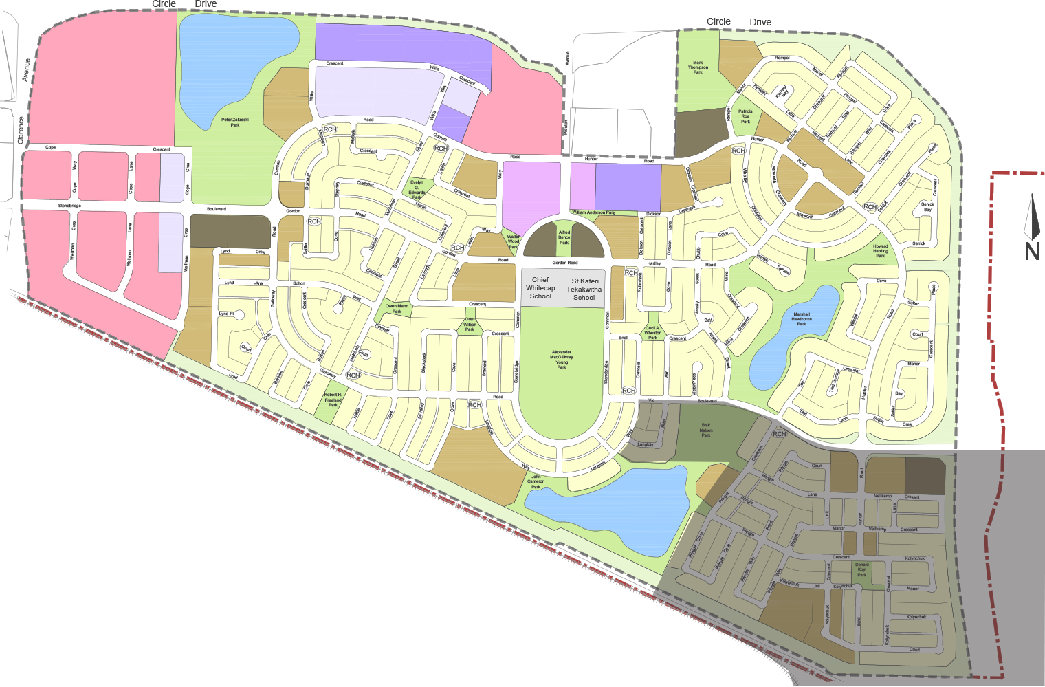 Southeast – South of Vic Boulevard, East of Langois Way and East of Alexander MacGillivary park