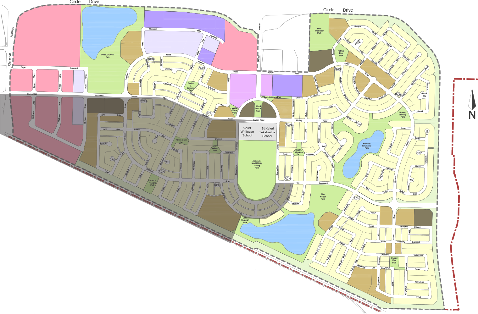 Southwest - South of Stonebridge Boulevard and Gordon Road, West of Langois Way and Alexander MacGillivary park